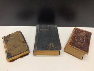 lot of 2 Vintage Bibles and a German Dr Martin luthern Text Dated Berlin 1868