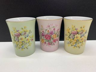 Set of 3 Vintage Hand Painted lefton China Cups With Gilding Made in Japan