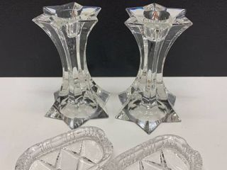 Mixed lot of Crystal   Pair of Candlesticks and Pair of ladies Ashtrays