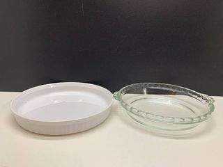 lot of 2   24 cm Round Corning Ware and Pyrex Baking Dishes