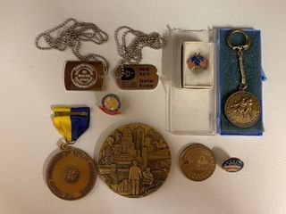 Mixed lot of Various Military Chains  Bicentennial and Political Items  Rotary