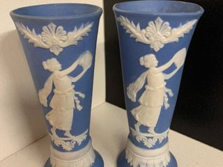 Set of 2 Small Jasperware Vases   Unmarked  Possibly Wedgwood