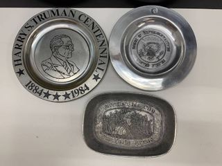 lot of 3 Pewter Pieces   Includes Wilton  limited Edition Truman