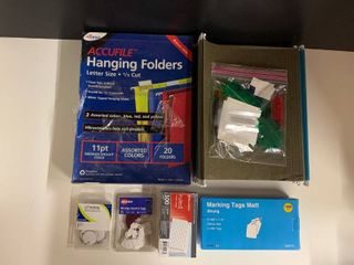 lot of Assorted Office Supplies   Includes Hanging Folders  Marking Tags
