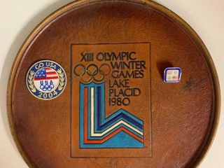 lot of Olympics Memorabilia   Includes Tray with leather Inset