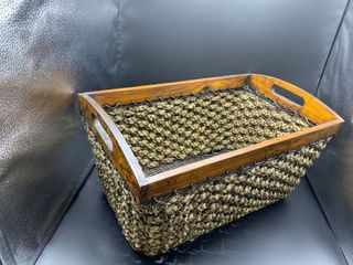 large Braided Wood Basket With Handles