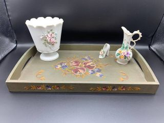 lot of 4   Hand Painted Tray  lefton Small Dish  Shoe and Pitcher