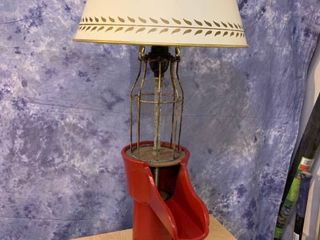 Vintage Red Pitcher Pump Table lamp with Toleware Shade   Front Spigot Handle is the On Off Switch