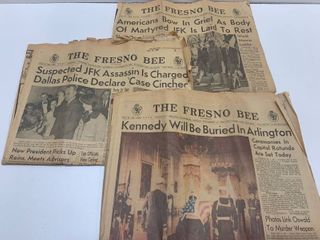 lot of 3 Fresno Bee Newspaper Sections   Nov 23 25  1963  Kennedy Assassination
