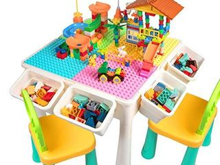 Upgrade Toddler Activity Table  Kids Table   Chair Set with 230PCS Building Blocks All in One Multi Activity Playset and Water Table Sand Table  Versatile Toys for Toddlers 2 3 4 5 Year Old