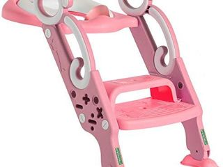 Toddler Toilet Training Seat with Non Slip ladder  Foldable Padded Potty Trainer with Step for Girls and Boys  Pink