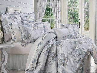 Estelle Blue Queen 4pc  Comforter Set Bedding
