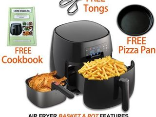 lOUISE STURHlING All Natural Healthy Ceramic Coated 4 0l Air Fryer  BPA FREE  PFOS   PFOA FREE  7 in 1 Pre programmed One touch Settings  Exclusive BONUS Items   FREE COOKBOOK  TONGS   PIZZA PAN