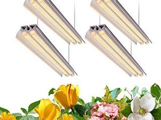 Monios l T5 lED Grow light  4FT Full Spectrum Sunlight Replacement with Reflector  240W 4A60W  Double Tube White light Integrated Fixture with Hanging System for Indoor Plants Plug and Play 4 Pack