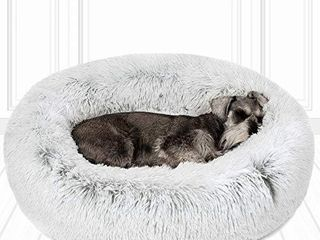 Friends Forever Coco Cat Bed  Faux Fur Dog Beds for Medium Small Dogs   Self Warming Indoor Round Pillow Cuddler  Medium  Ivory
