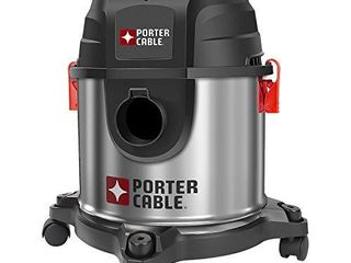 Porter Cable PCX18301 4B 4 Gallon 4 HP Wet Dry Vacuum  Stainless Steel light Weight Portable Shop Vac  3 in 1 Function with Attachments
