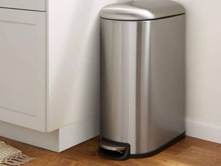 AmazonBasics Stainless Steel Rectangular Soft Close Trash Can with Foot Petal for Narrow Spaces   40l   10 5 Gallon