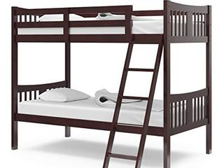 Storkcraft Caribou Solid Hardwood Twin Bunk Bed with ladder and Safety Rail  Gray