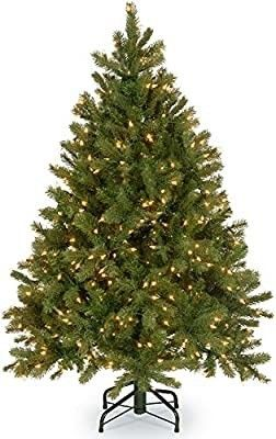 National Tree Company  Feel Real  Pre lit Artificial Christmas Tree   Includes Pre strung White lights and Stand   Downswept Douglas Fir   4 5 ft