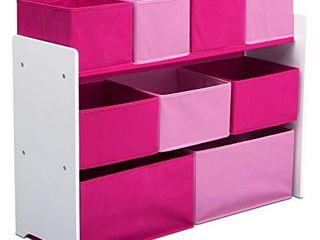 Delta Children Deluxe Multi Bin Toy Organizer with Storage Bins  White Pink Bins