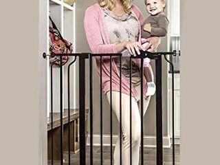 Regalo Easy Step Extra Tall Walk Thru Baby Gate  Bonus Kit  Includes 4 Inch Extension Kit  4 Pack of Pressure Mount Kit and 4 Pack of Wall Cups and Mounting Kit  Black