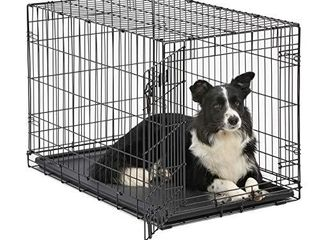 Dog Crate   MidWest ICrate 36 Inch Folding Metal Dog Crate w  Divider Panel Intermediate Dog Breed  Black
