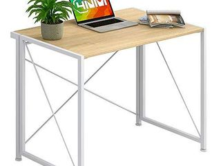 4NM No Assembly Folding Writing Desk Small Computer Desk laptop Table Compact Home Office Desk Study Reading Table for Space Saving Office Table   White