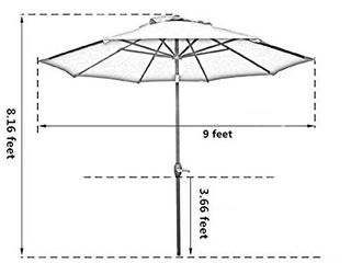 Sunnyglade 9  Patio Umbrella Outdoor Table Umbrella with 8 Sturdy Ribs  Red