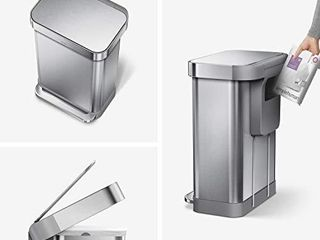 simplehuman 45 liter Rectangular Hands Free Kitchen Step Trash Can with Soft Close lid  Brushed Stainless Steel