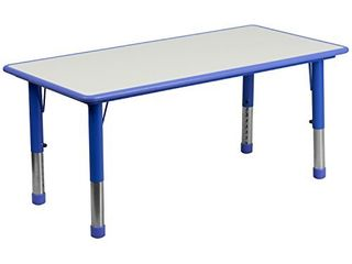 Flash Furniture 23 625 W x 47 25 l Rectangular Blue Plastic Height Adjustable Activity Table with Grey Top