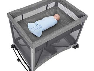 HAlO 3 in 1 DreamNest Plus Bassinet  Portable Crib  Travel Cot with Rocking Attachment  Breathable Mesh Mattress  Easy to Fold Pack and Play