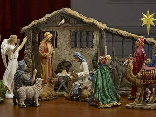 16 Piece Deluxe Edition Christmas Nativity Set with Real Frankincense Gold and Myrrh
