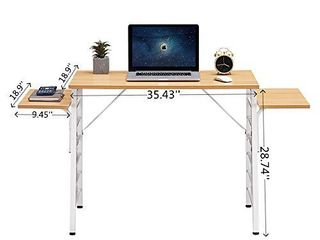 SEAMOON Modern Home Office Desk for Small Spaces 35 Inch Computer laptop Study Writing Table Simple Wood Oak Desks with Two 9 5 Inch Removable Splice Board Sturdy Metal Frame Easy Assembly  Black