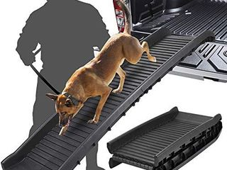 SAVFOX large Dogs Portable lightweight Folding Pet Ramp Great for Cars  Trucks and SUV   Durable Pet Ramp Supports Up to 150 lb length Ramp  Patented Compact Easy Fold Design  Black