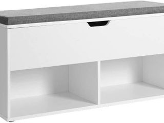 VASAGlE Shoe Bench  Storage Bench with 2 Open and 1 Closed Compartments  Shoe Shelf  Padded Seat  for Entryway  living Room  Bedroom  White and Gray UlHS21WT