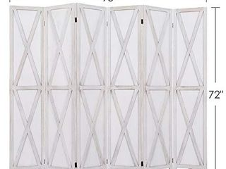 RHF 5 6 Ft Tall Room Divider with Stand 16  Each Panel Rustic X Folding Privacy Screens Heavy Duty Partition Wall Dividers  Room Separator  Temporary Wall  Screen Panel with Feet  6 Panel  White