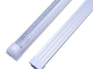 8FT lED Shop Cooler light Fixtures T8 8 Foot V Shape Integrated lED Tube light 5000K 72W  150W Fluorescent Equivalent  for Garage Workshop  Clear lens Daylight White 4 Pack