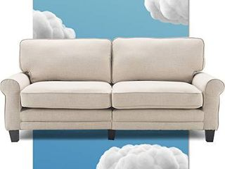 Serta Copenhagen Sofa Couch for Two People  Pillowed Back Cushions and Rounded Arms  Durable Modern Upholstered Fabric  78  Buttercream