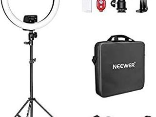 Neewer Advanced 18 inch lED Ring light Support Manual Touch Control with lCD Screen  2 4G Remote and Multiple lights Control  3200 5600K  Stand Included for Makeup YouTube Video Blogger Salon  Black