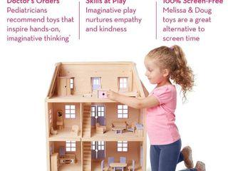 Melissa   Doug Wooden Multi level Dollhouse