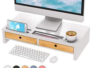 Monitor Riser Stand Desk Shelf   with Drawer Keyboard Storage Stylish White 22  x 10 6  x 4 7
