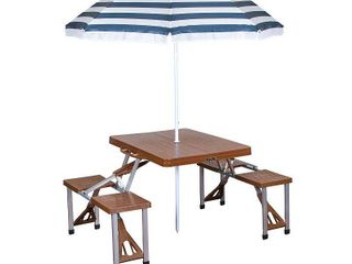 Stansport Folding Picnic Table with Umbrella  Aluminum Frame  Multiple Colors