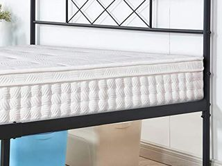 VECElO Metal Platform Bed Frame Mattress Foundation with Headboard   Footboard Firm Support   Easy Set up Structure  Queen  Black