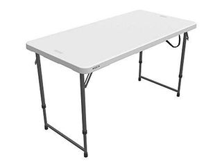 lifetime Height Adjustable Craft Camping and Utility Folding Table  4 ft  4 48 x 24  White Granite