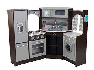 KidKraft Ultimate Corner Play Kitchen with lights   Sounds  Espresso  53365