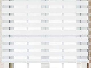 Custom Cut to Size    Winsharp Basic   white   W 47 x H 64 Inch  Horizontal Window Shade Blind Zebra Dual Roller Blinds
