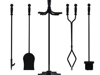 5 PCS Fireplace Tools Set Wrought Iron Fire Place Accessories Tools Holder with Handles Tools for Indoor Fireplace Decor Outdoor Fire Pit Modern Tool Poker Tongs Shovel Brush Wood Stove Hearth Black