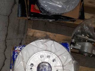 Wood Pallet of Motor Vehicle Parts ie Rotors  Radiators  Drive shaft Visors Shock Absorbers etc