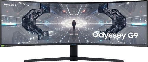 Samsung   Odyssey G9 49  lED Curved QHD FreeSync and G SYNC Compatible QlED Monitor with HDR   Black White Retail   3 492 90
