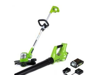Greenworks 24V Axial Blower and 12 Trimmer Combo Kit  Green Tested and Working